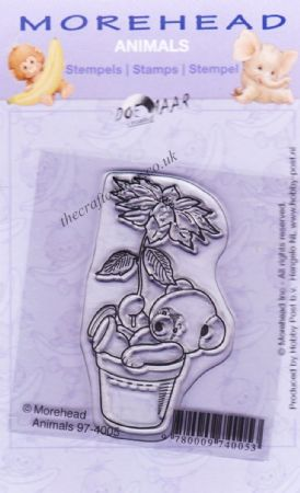 Teddy Bear with Flower Clear Rubber Stamp From Morehead